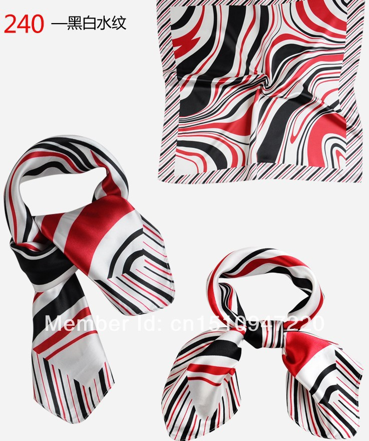 free shipping simulation silk towel 50*50 small towel series color stripe Hotel occupation small square scarves style 13(China (Mainland))