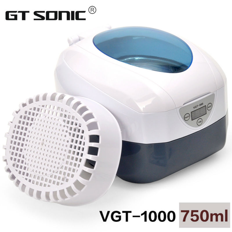 Digital ultrasonic jewelry cleaner 750ml for dishware, CD, necklace, eyeglass, coins cleaning VGT-1000 40KHz, 35W(China (Mainland))