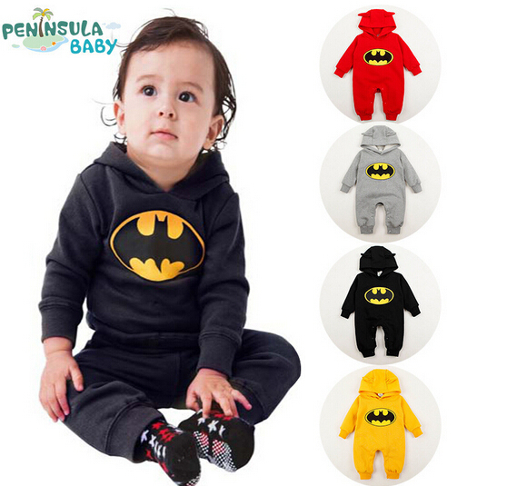 SR022 Free shipping 2014 new batman top quality baby rompers boy newborn baby clothes breaking warm
