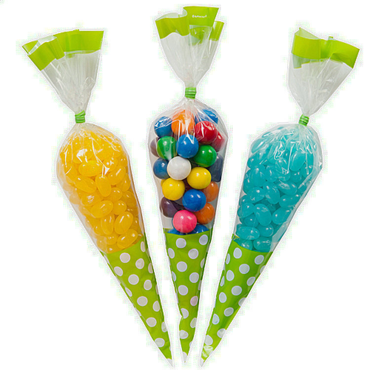 10pcs 10x15CM Girl boy BABY SHOWER Wedding Birthday engagement Party Favor Cello Lime green POLKA DOT candy Goodie BAGS(China (Mainland))