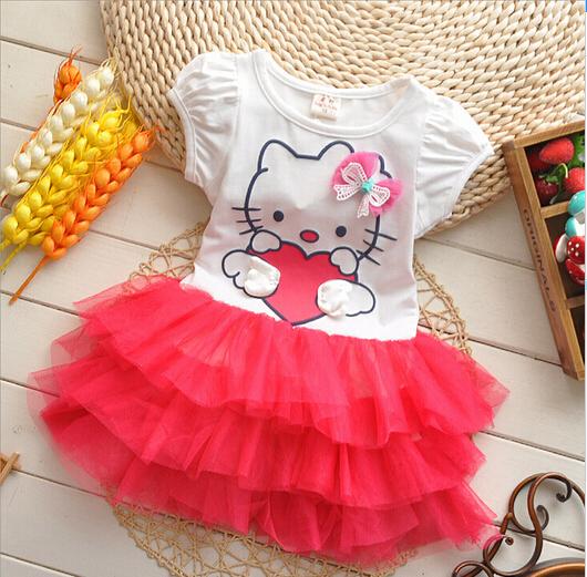 hello kitty dress girls short sleeve dress summer lovely baby girl Dresses(China (Mainland))