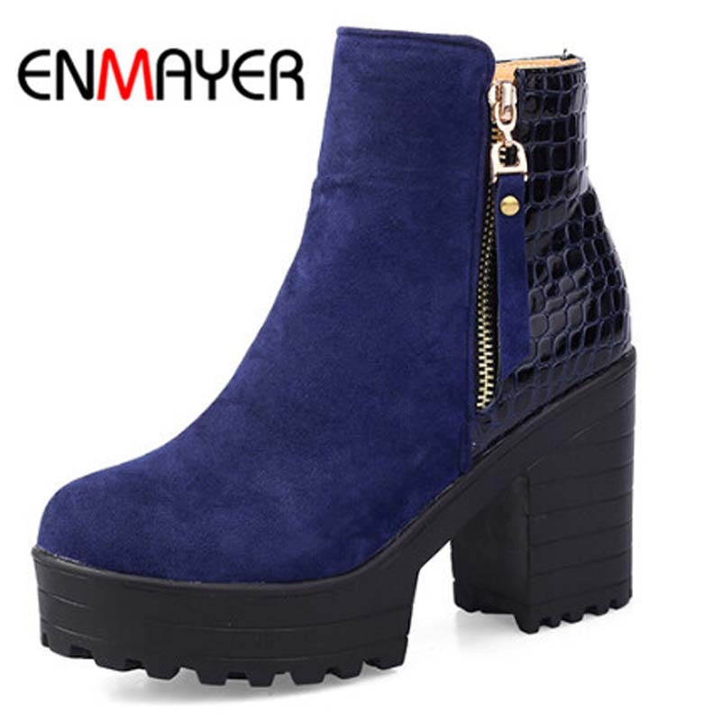 ENMAYER New Autumn Winter Boots High Quality Genuine Zip Ankle Boots Sexy Round Toe Women Motorcycle Boots Platform size 34-43<br><br>Aliexpress