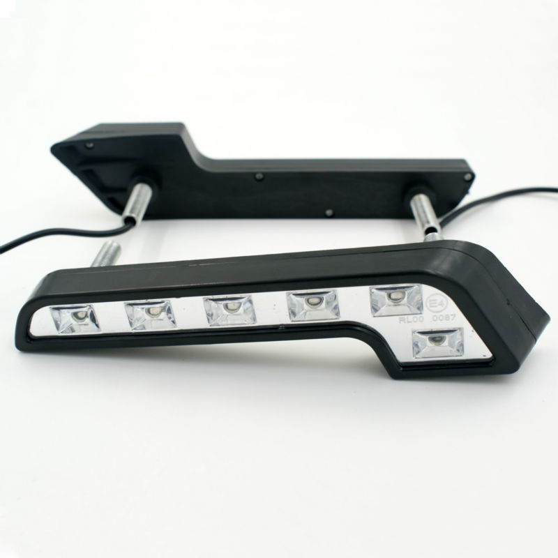 Free shipping New 2PCS 6 LED L Type 5W 12V Daytime Running Light DRL Auto Car