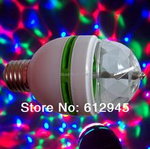 New Strobe effect LED E27 lamp 3W Colorful Rotating magic Disco Ball bulb Light mini type LED stage light(China (Mainland))