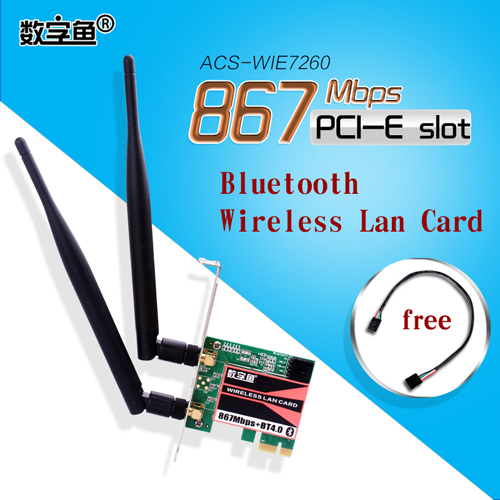 New 5GHz867Mbps/2.4GHz300Mbps Bluetooth BT4.0 PCIE Wireless Lan Card Adapter WiFi Antenna PCI Express Network Card for Desktop(China (Mainland))