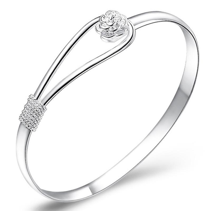 New Fashion jewelry Silver Simple Circle Flower Rose Cuff Bangle Bracelet # L10205(China (Mainland))