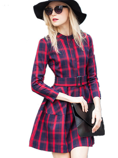 new 2016 spring summer vintage England style plaid vestidos burderry women dress casual brand robe femme ball gown dresses(China (Mainland))