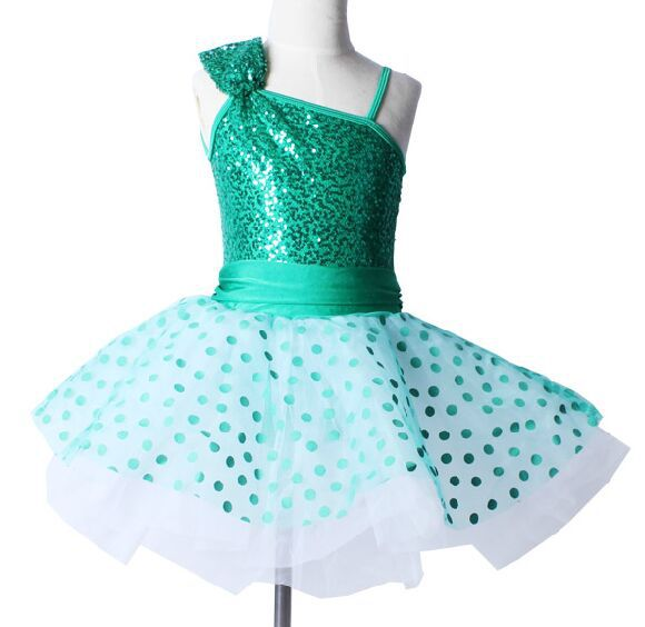 Girls green sequin dress dancing, ballet tutu child & adult sizes, jazz dance costumes, stage wear performance costume 1001 - Love to store
