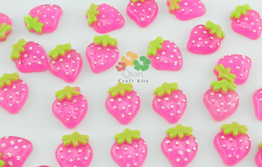 100pcs Big glitter Strawberry Cabochons Cell phone decor, hair accessory supply, embellishment,for DIY project mix color(China (Mainland))