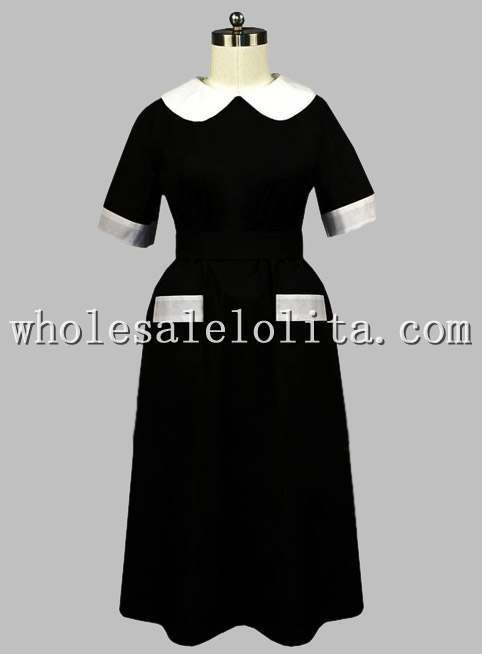 Gothic Black and White British Victorian Era Dress Button at the Back Одежда и ак�е��уары<br><br><br>Aliexpress
