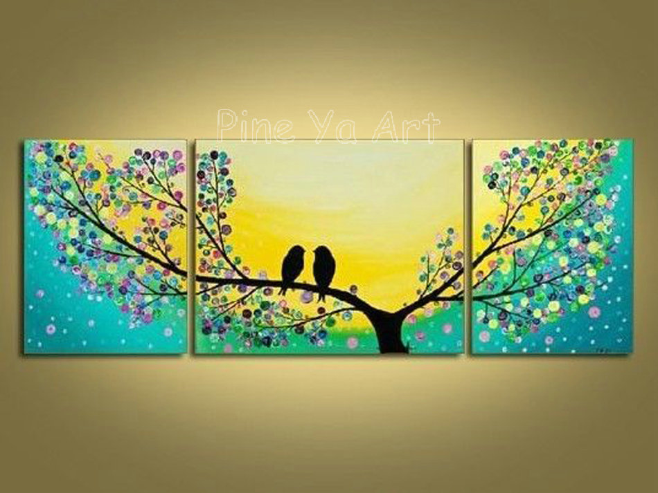 3 piece abstract modern canvas wall art decorative tree for Wall art pictures paintings