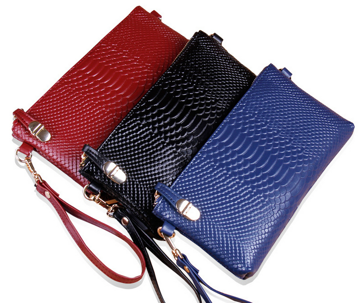 2015 women day clutches alligator genuine leather clutch bag women fashion messenger bag free shipping(China (Mainland))
