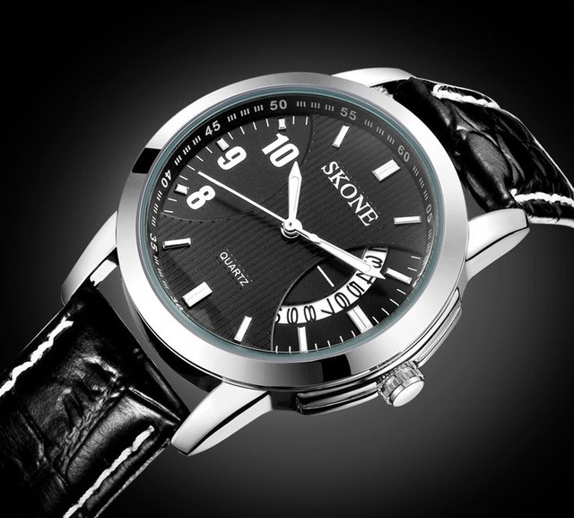 2014 Hot Selling!Brand LOGO Fashion Quartz Leather Man Wristwatches Male Stylish Luxury Business Dress Watches White Black Watch