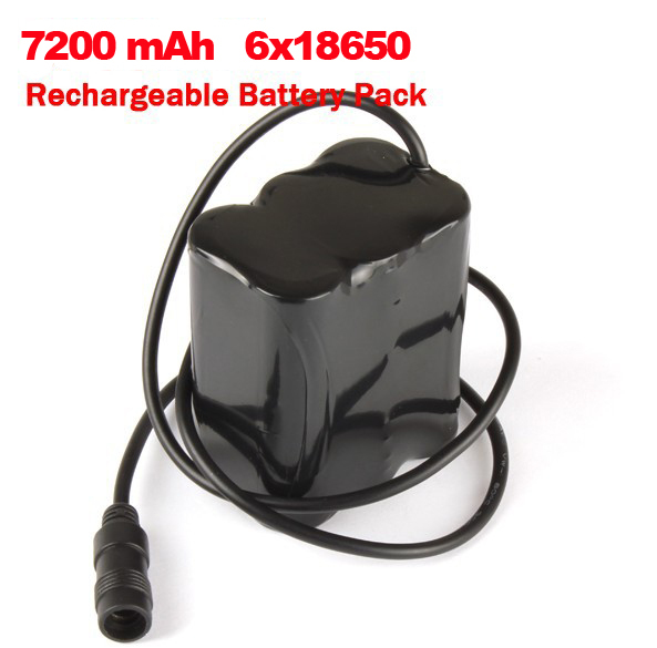 DC 5.5x2.1 8.4V 6x18650 7200mAh Waterproof Rechargeable Battery Pack for LED Bike Light Headlamp With US/EU AC Charger(China (Mainland))