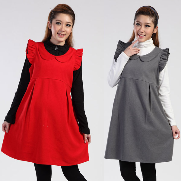 Maternity Wool Dresses for Baby Showers Autumn Winter New