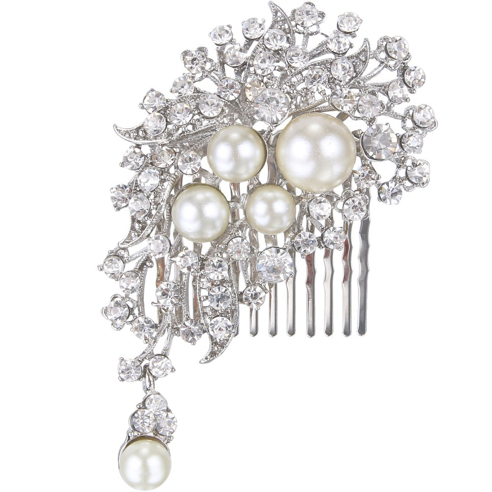 BELLA Simulated Ivory Pearls Mini Bridal Hair Comb Pin Austrian Crystal Head Piece For Wedding Hair Accessories Girl Gift(China (Mainland))