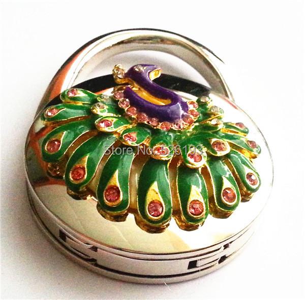 1pcs fashion purple lady peacock table foldable purse hanger handbag hook hot sale 2015(China (Mainland))