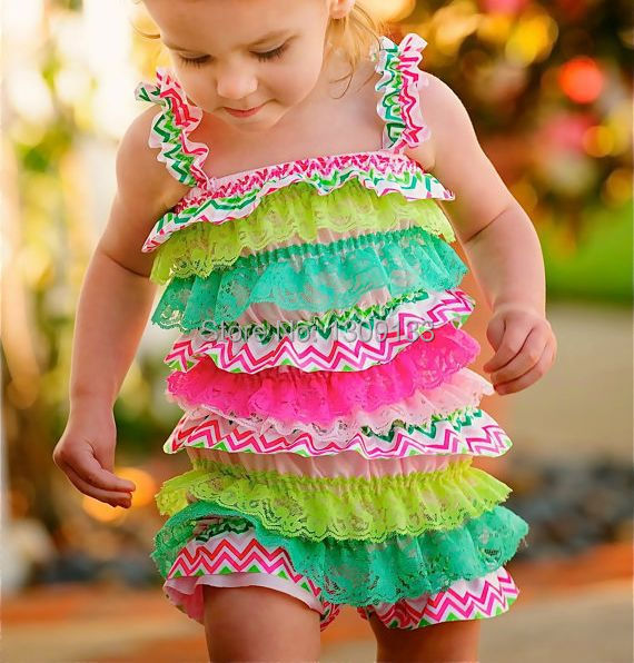 19 Styles You choose Color size,chevron Rainbow zebra Baby girls lace petti rompers(China (Mainland))