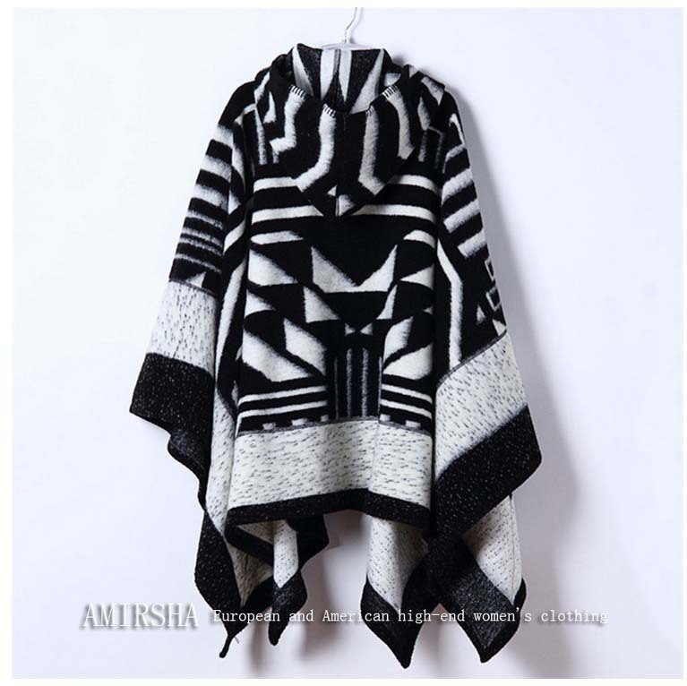 2016 Winter women Scarf  with hat Buckle large power long Cashmere thickened warm shawls women Fringe Poncho Women  poncho Shawl