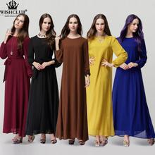 WISHCLUB 2015 Muslim abaya dress islamic clothes for women hijab dubai jibabs kaftan fashion chiffon abaya long dresses