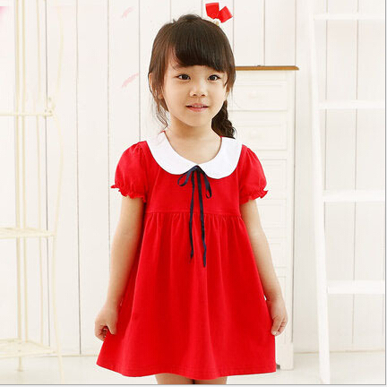 2015 Soft Cotton Little Girls Clothes Cute Breathable Red Dress for Children New Solid Simple Kids Girl Dress for Age 2-16(China (Mainland))