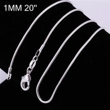 10pcs/lot Promotion! wholesale 925 silver necklace, 925 silver fashion jewelry Snake Chain 1mm 20 inches Necklace(China (Mainland))