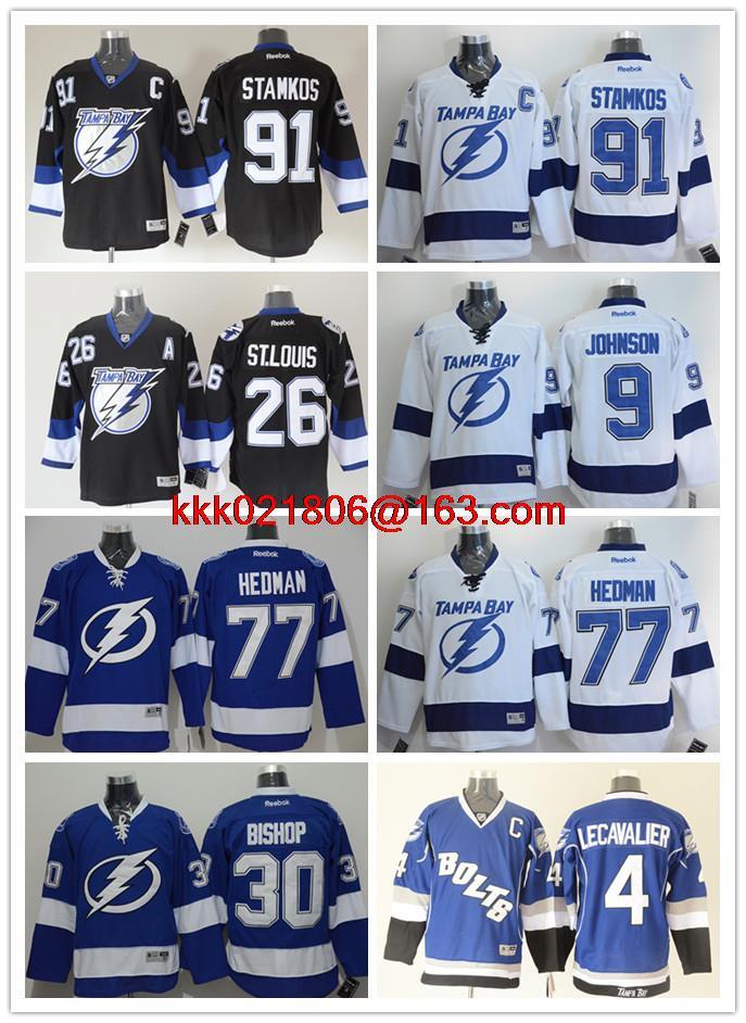 Tampa Bay Lightning Embroidery #30 Ben Bishop #9 Tyler Johnson #91 Steven Stamkos #86 Kucherov #4 Lecavalier(China (Mainland))