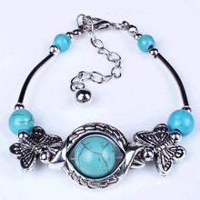 Vintage Bohemia charm 18k gold beads natural turquoise friendship bracelet for women(China (Mainland))