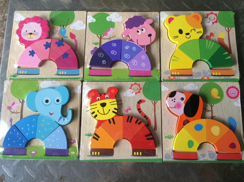 Baby Toys Beech Wood Rainbow Cartoon Animals 3D Puzzles Wooden Toys 6Kind For Choose Child Educational Learnning Birthday Gift(China (Mainland))