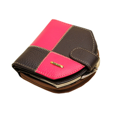 Women s Wallets Patchwork Genuine Leather Purse Short Vertical Handbag Womens Coin Pouch Carteras Mujer Carteiras