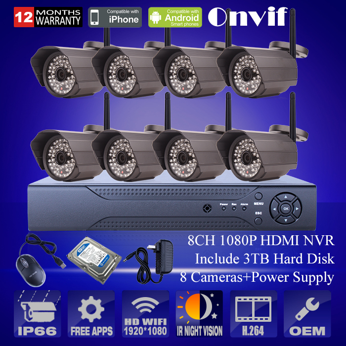 8CH Wireless Remote CCTV NVR System With 3TB HDD Onvif 1080P HD Sony Sensor Outdoor WIFI IP Camera 48IR Security Monitor Kit(China (Mainland))