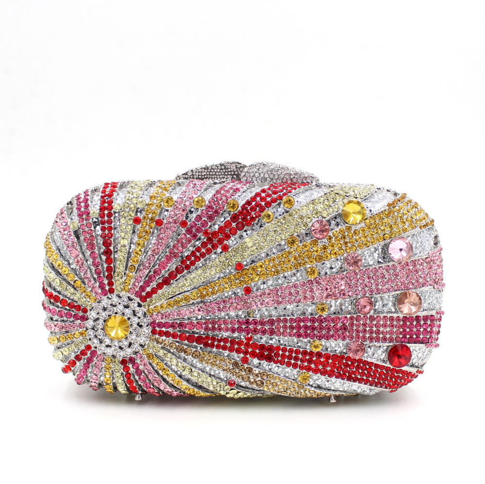 European and American foreign trade luxury full diamond evening bag hand bag banquet bag hollow clutch<br><br>Aliexpress