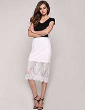 Sweet Elegant Lady Sexy Women Skirt Casual New Fashion Lace Floral Below Knee Straight High Waist Skirts White 4 Sizes
