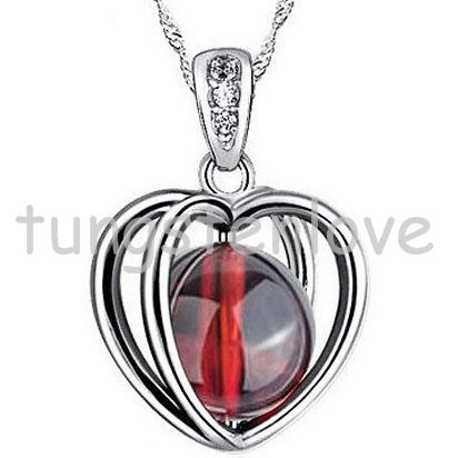 Fashion Silver Love Double Heart Pendant Necklace Neckwear Cross For Women With Crystal Garnet Inside Jewelry(China (Mainland))