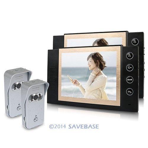 """HOMSECUR 2v2 8"""" LCD Video Door Phone DoorBell Intercom System 700TVL Camera Night Vision(China (Mainland))"""