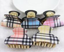 2015 New Hot Hair Accessories Korean Style Hair Pin Plastic Plaid Hair Claws for Girls Women Headwear Hair Accessories 5pcs/lot(China (Mainland))