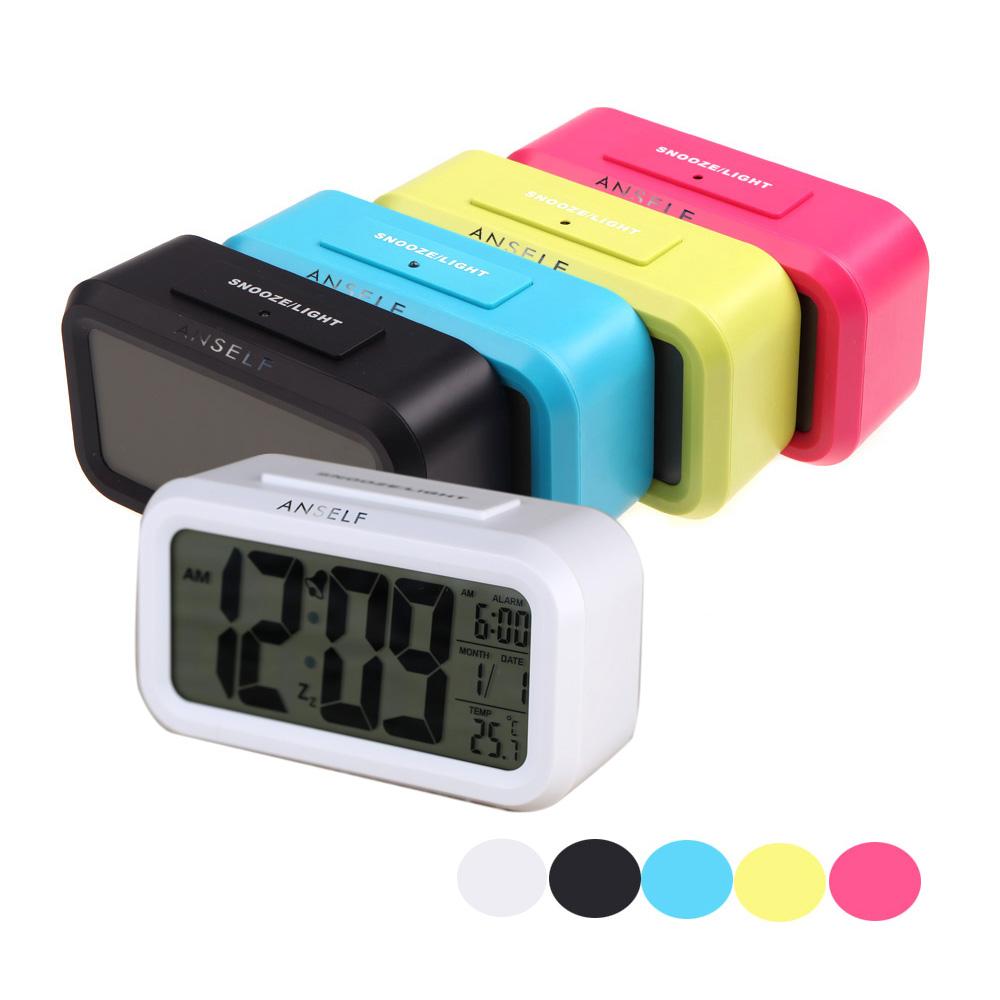 Anself LED Digital Repeating Snooze Alarm Clock Light-activated Sensor Table Clock Backlight Time Date Temperature Display klok(China (Mainland))