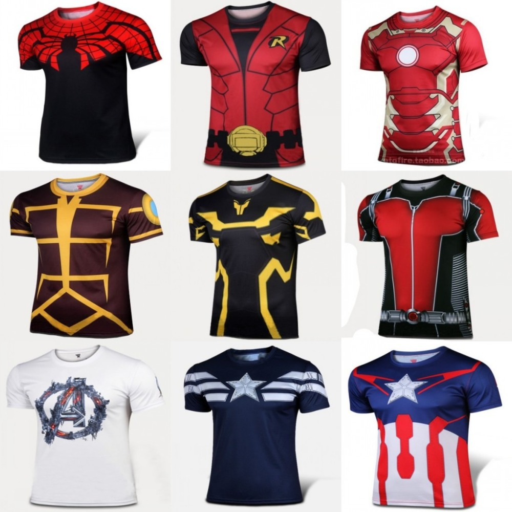 Marvel Super Heroes Avenger Captain America Batman sport T shirt Men Compression Armour Base Layer Thermal