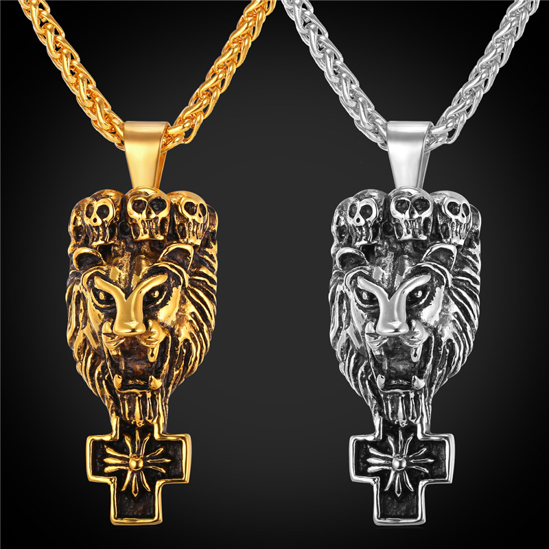 Stainless Steel/18K Real Gold Plated Lion Head Animal Charms Necklace & Pendant Rock Punk Style Jewelry Chain Men Vintage GP1845(China (Mainland))