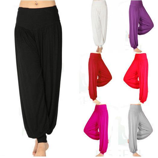 Гаджет  Women Ladies Solid Harem Yoga Sport Flare Modal Pant Belly Elastic Waist Dance Club Boho Wide Leg Pants Loose Long Trousers None Спорт и развлечения
