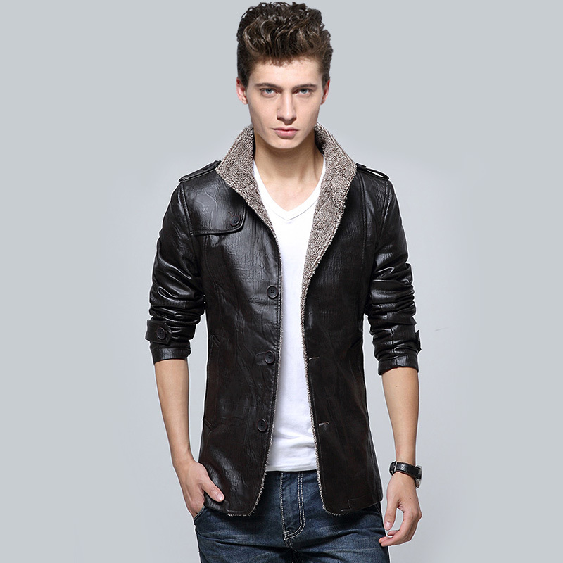 2015 New Brand Luxury Men Jackets Leather Varsity Jacket Winter Jacket Waterproof Thick Men ...