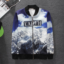 HZIJUE Brand Baseball Jacket 2015 autumn winter New Mens 3d Jackets Designer Clothes space cotton Sport Jacket outerwear coat