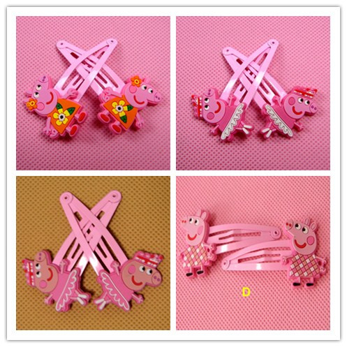 ONE PAIR PRICE peppa pig Hairpin Hairclip Headwear Girl Hair accessories KIDS Hair clip Girl Christmas Gift(China (Mainland))