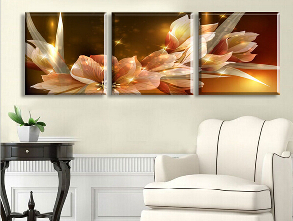 Free Shipping Canvas Painting Wealth and luxury golden flowers 3 Piece Art Cheap Picture Home Decor On Canvas Modern Wall Prints(China (Mainland))