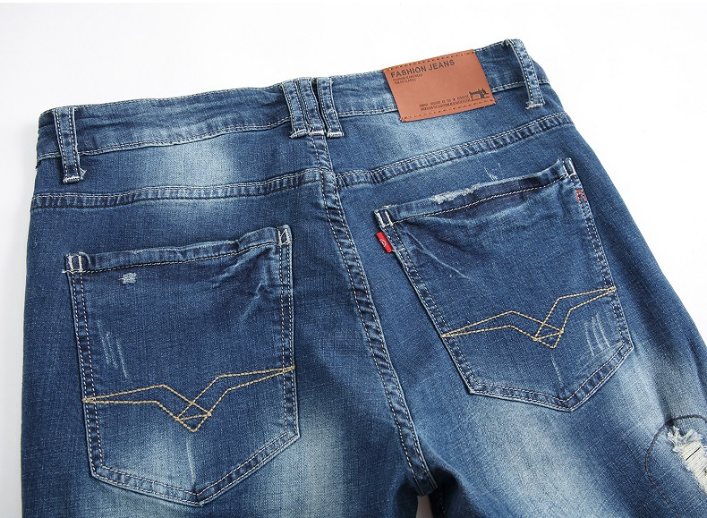 Europe and the United States Nostalgia Hole Cotton stretch Slim Small straight patch Patch jeans