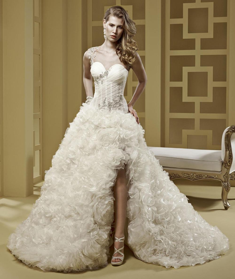 One Shoulder Luxury Ruffled Wedding Dress Short Front Long Back Beaded Sweetheart High Low Vestido De Novia Sexy 2016(China (Mainland))