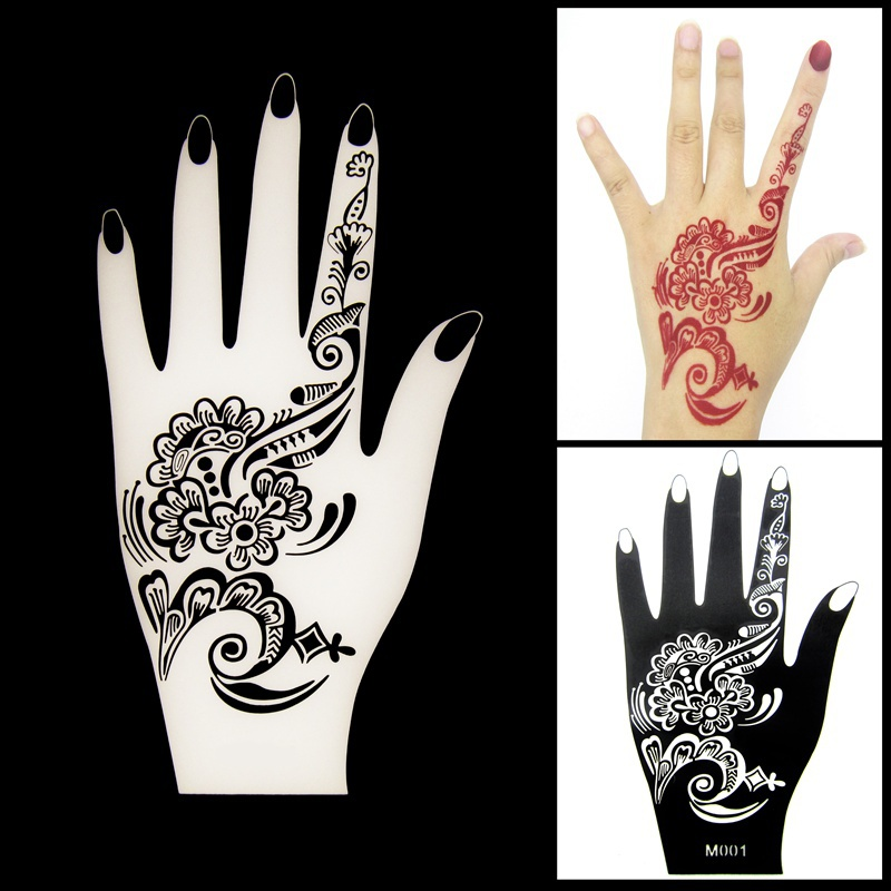 1pcs new henna hand tattoo stencil flower lace glitter for Henna temporary tattoo stencils