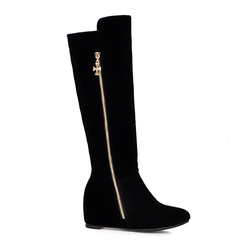 Chinese sweet style round toe winter warm knee high boots metal decoration zipper black increasing med heel womens riding boots<br><br>Aliexpress
