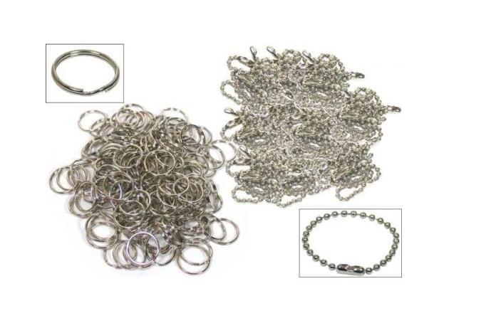 50Pcs Split Rings 50Pcs Ball Chains Keychain Nickel Plated 4Z144(China (Mainland))