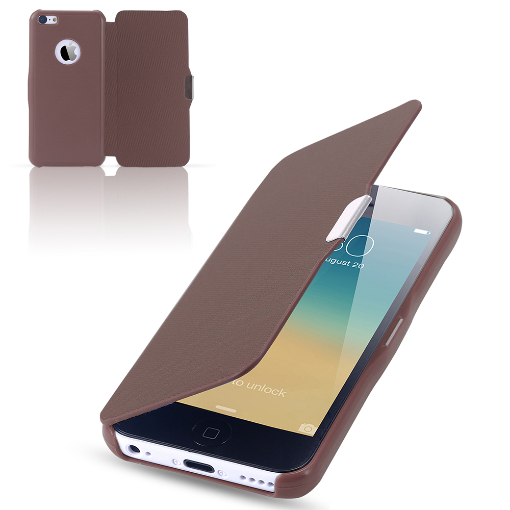 for iphone5c Slim Magnetic Flip PU Leather Case for apple iphone 5C Full Protective Cloth Skin Cover Ultra Thin Fashion(China (Mainland))